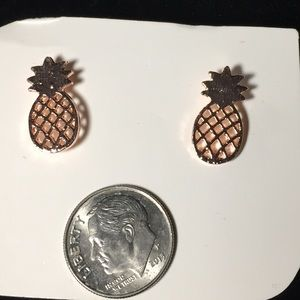 Rose Gold Tone Pineapple Earrings